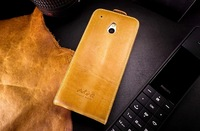 Handmade Genuine Real 100% Leather Flip Case Cover for HTC One Mini M4 Brown for htc one mini case