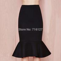 FREE SHIPPING new fashion 2015 women Spring and summer elegant fishtail Fishtail flounced High waist elegant long skirts XS-XXL
