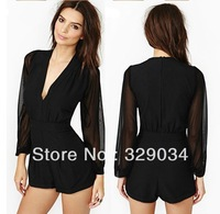 Sexy Long Gauze See-through Sleeve Chiffon Patchwork High Waist Deep V-Neck Romper Playsuit Jumpsuit Shorts with Pocket Black