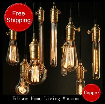 2013 Hot selling vintage Antique wholeset with E27 220V Edison bulb+lamp holder+wire+ceiling base bar shop pendant lighting