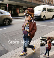 Free Shipping 2014 winter new Pilots Plush baby children hat  winter Beanie baby hat knitted hat for girls/boys 2colors option