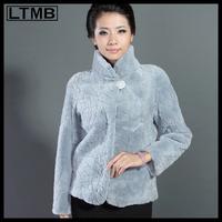LTMB4234  New fashion short design women's long sleeve rex rabbit fur coat mandarin collar slim fur  2014