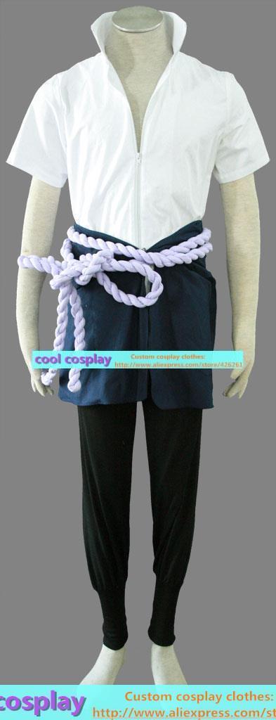 naruto Sasuke Cosplay clothes men's clothing Men's set of: jacket, elastic pants, draped waist, waist rope, cuff(China (Mainland))
