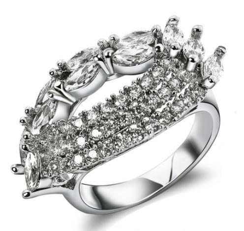 New Women Luxury Flower Shape wedding rings AAA Cubic Zirconia Propose Marriage Present
