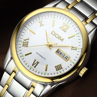 Dom automechanism watch male trend fashion commercial waterproof vintage mens watch stainless steel