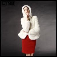 LTMB  Women mink fur coat short  hooded turn down collar full sleeve skirt hem white black  color winter  new fashion