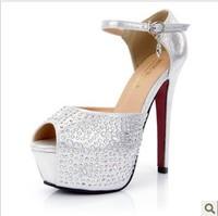 Ladies Sexy High Heels Platform Open Toe Bridal Wedding Female Shoes Women Pumps Black Silver DZ513-2
