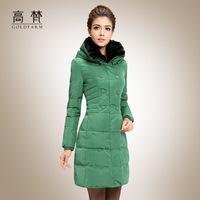 2014 fur collar down jacket medium-long female winter double breasted women's winter coat Rabit fur collar