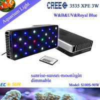 2013 new designed 90W aquairum light with  sunrise-daylight-sunset-moonlight  effection on reef tank