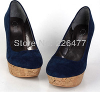 Free shipping 2013 new arrival fashion Kate Middleton Style Genuine Leather wedges shoes with shallow mouth platforms round toe