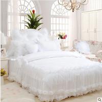 4pcs/6pcs lace bed skirt tribute silk/cotton princess bedding set king size Korean style bedspreads snow white romantic bed set