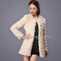 Best Selling Winter Women's Fake Fur Rex Rabbit Hair Fox Fur Collar Coat Faux Fur  Long Overcoat Best Christmas Gift Costumes