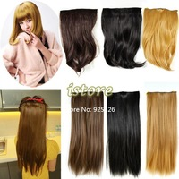 2013 Women's Appealing  Synthetic Hair Extensions With 5 clips One Piece Clip In Long Straight / Curly Wavy  6 Colors 5557
