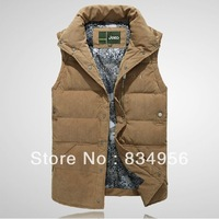 New men's down vest, goose down ma3 jia3, big size M/L/XL/XXL,Free shipping black army green earthy yellow