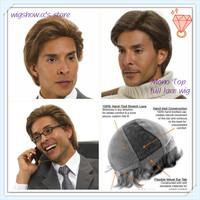 Custom Color Monofilament Top Real Hair Full Lace Mens Wig
