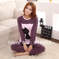 2013 Cat fish lovers sleepwear long-sleeve cotton 100% women's male spring and autumn cartoon lounge set Free Shipping
