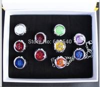 10PCS Naruto Anel Black Akatsuki Ring Set Sasori Itachi Hidan Deidara AE00060