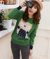 2013 Korean Style Wool Knit Sweater Woman Cute Owl Print Pullover Winter Loose Cardigan Sweater Fall Tops Outwear Brand