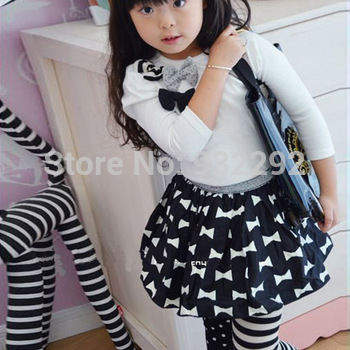 Kids Girls Dance Leggings Polka Dot Stripe Trousers Render Pants 1-9Y Free shipping & Drop shipping XL207