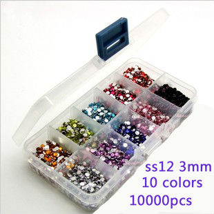 Mixed rhinestone10000pcs 3mm flat back acrylic Nail Art rhinestone 1000pcs/color Giving 10 case Rhinestone Storage Case Box(China (Mainland))