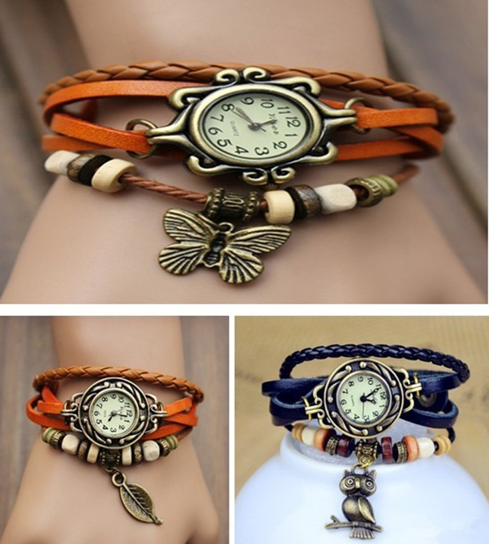 Hot sell Variety Of Styles Women Leather Vintage Watches, Electroplating Ancient bronze Pendant Bangles Watch(China (Mainland))