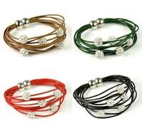 Hot sale shamballa jewelry beads leather friendship bracelet woman gift 12pcs/lot