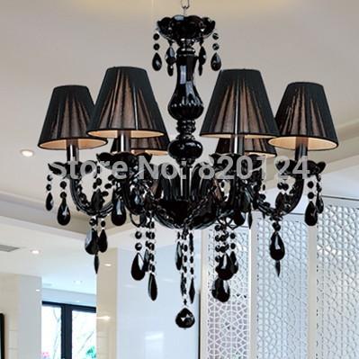 Moderne noir pendentif en cristal lampe de lustres en cristal lampe salle à manger salon hall- 6 pcs e14 lampe ampoule menée bougie