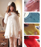 Sweet and Elegant Long-sleeve Mohair Pullover Sweater Dress, Autumn/Winter Princess Cute Lace Knitted Patchwork Dress