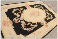 BLACK IVORY 6X9 Aubusson Area Rug ANTIQUE FRENCH DECOR Cream Pink Wool Carpet shabby chic home decor