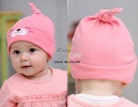 Wholesale 5pcs/lot New Cute Toddlers Infant Baby Cotton Sleep Cap Hat Headwear 3 Colors 13392