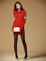 2012 autumn and winter elegant women's slit neckline medium-long wool sweater rabbit fur sweater dress