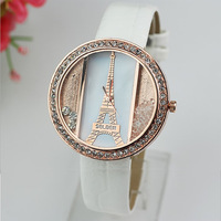 New 2013 Fashion  Quartz Watch Gold plated Eiffel Tower Leather Strap Watches Women Rhinestone Watches  Wristwatches Gifts