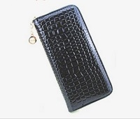 L218 2014 New Fashion Zipper Female Long Design Women's Day Clutch Mobile Phone Bag Stone Pattern Japanned Leather Wallet