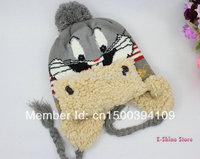 1piece Kids cartoon rabbit hat Winter babies' cartoon crochet hat caps warm knitting wool hats for children Free shipping