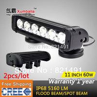 Free Shipping 2pcs/lot 11 inch 60W Cree LED Work Light Bar 4x4 truck tractor offroad fog light LED Bar Spot flood headlight ATV