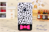 For iPhone 5 5s Case PC Lovely Girl Bow Punctate Transparent Fashion For iPhone5 iPhone5s Skin Cover Fit Wholesale Free Shipping