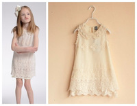 Girl party dress chiffon Summer 2014, Kids princess lace dress sleeveless, children fashion clothes pearl collar, 3-10years