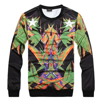Mens sweatershirts round neck pullover sweater bird of paradise pattern bamboo printing good quality outwear