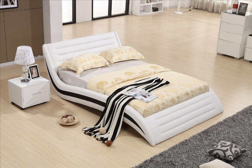 Mobilier De Chambre Moderne Design Top Grain Leather Lit