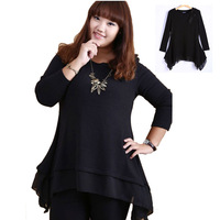 Autumn Plus Size Women Basic Shirt Big Size Clothing Female Clothes Fat Women Fashion 2013 Loose Tops Irregular Chiffon  Blouse