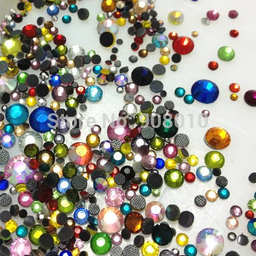 800pcs 20Gram MIX Sizes And Colors Iron-on DMC HOTFIX Rhinestone Crystal Bead Bling Perfect DIY(China (Mainland))
