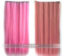 24inch(60cm) top quality long synthetic straight clip in hair extensions synthetic hair scrunchies free shipping