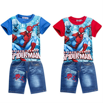 retail spiderman kids clothing sets,fashion cartoon children summer shirt jeans shorts set,baby toddler boys tees pant suit