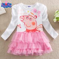 Free shipping!2013 New style 18M-6Y Peppa Pig girl girls kids long sleeved summer TUTU dress dresses 5pcs/lot  L2102#