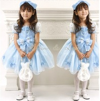 New Year girls princess dress Children's clothing tutu dress girl chiffon dress with bow,blue,4pcs/1lot,free shipping