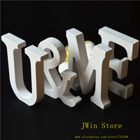 Free Shipping Standing Wooden Letter  White Colour  Alphabet A-Z Wedding Gift  Decorative Cafe Decor Size 8*6*1.2cm 10pcs/lot