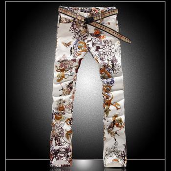 Men's Модный Джинса male slim Цветed drawing flower printed Длинный trousers ...