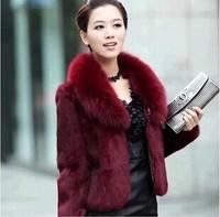 2014 women's faux mink fur short design coat fox fur collar overcoat outerwear coats female winter clothing