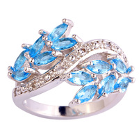 Wholesale Alluring  Marquise Blue & White Topaz  Silver Ring Size 7 Jewelry Fashion Ring  For Women