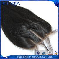 Three part brazilian hair closure natural straight virgin lace closure